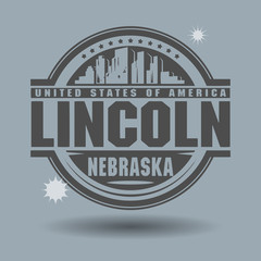 Stamp or label with text Lincoln, Nebraska inside