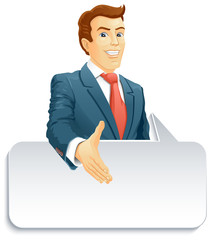 Smiling businessman with speech bubble