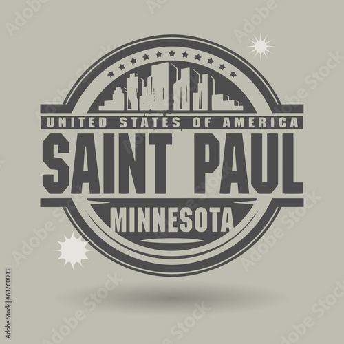Stamp or label with text Saint Paul, Minnesota inside
