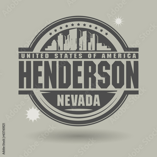 Stamp or label with text Henderson, Nevada inside