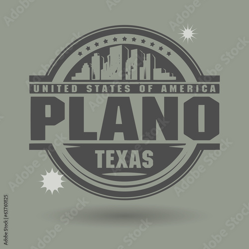 Stamp or label with text Plano, Texas inside