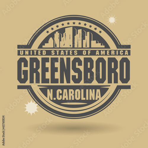Stamp or label with text Greensboro, North Carolina inside