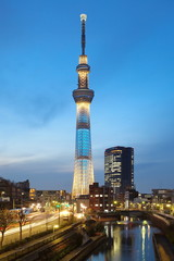 View of Tokyo Sky Tree at sunset time