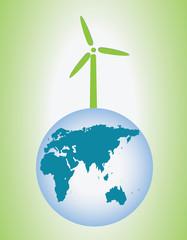Wind turbine and globe
