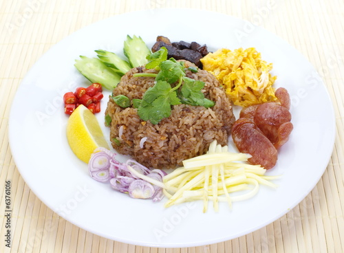 white Rice fried and mixed with shrimp paste