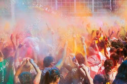 Crowd at Festival Holi in Barcelona