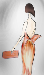 Fashion Design Sketch of a Model with a Cocktail Dress