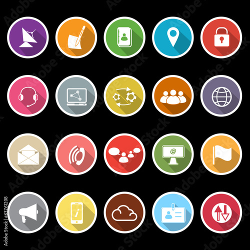 Communication icons with long shadow