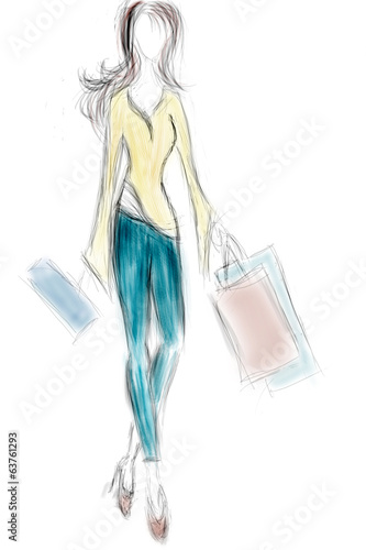 Woman on Shopping with Bags. Sale Season