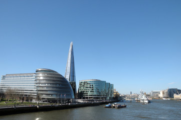 View from Tower Bridge of Shard and City Hall
