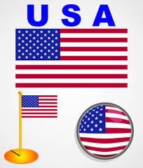 Illustration of the USA flag. icons