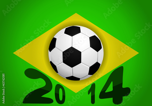 Ball and Brazil flag. 2014