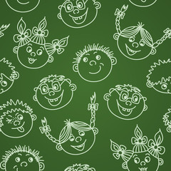 Seamless doodle smiling kids faces on chalkboard