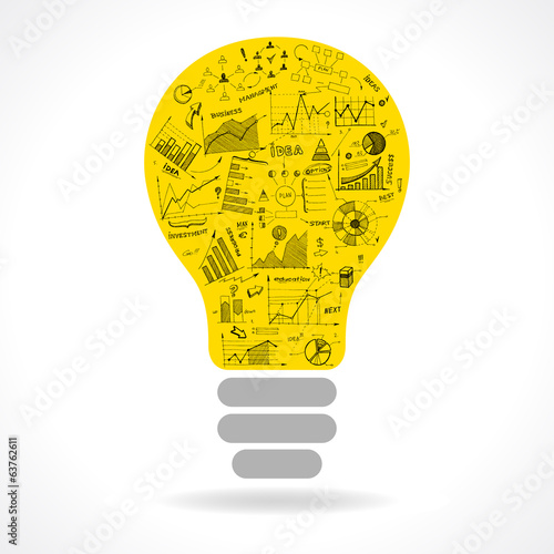 Doodle idea lightbulb icon with infographics charts
