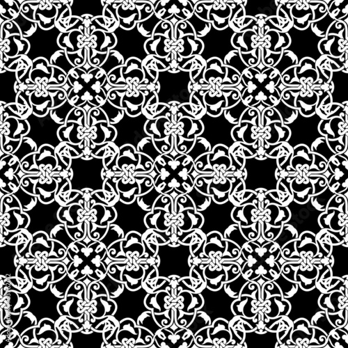 Seamless black and white pattern in arabic or muslim style