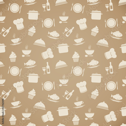 Seamless restaurant menu pattern background