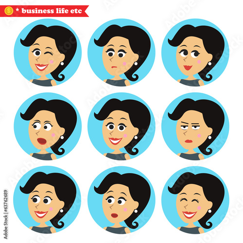 Facial emotions icons set