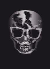 Röntgenbild Schädel mit Schnurrbart und Brille