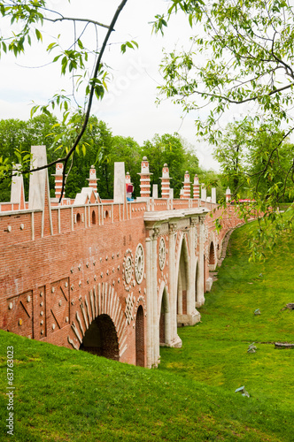 The big bridge in Tsaritsyno, Moscow, Russia
