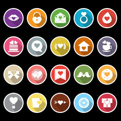 Heart element icons with long shadow