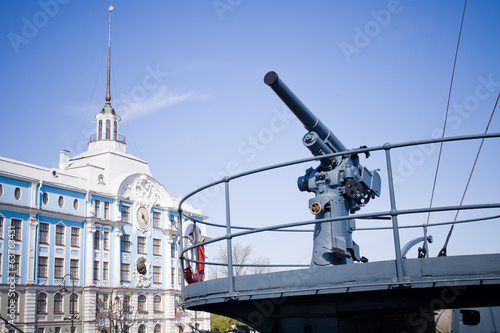 partial view of a battleship - Russian cruiser Aurora.