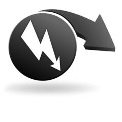 danger électrique sur symbole noir