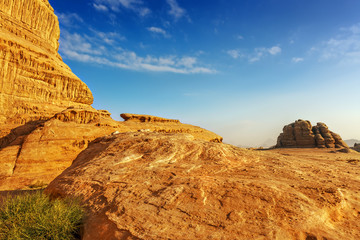 Rocky outcrop in the desert of Wadi Rum