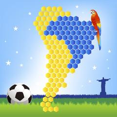 ブラジル サッカー バックグラウンド Brazil soccer concept - red macaw and map