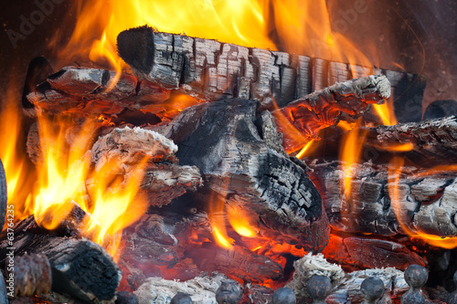 Wood logs burning in the fireplace