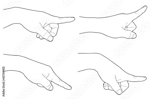 Hand touching or pointing to something