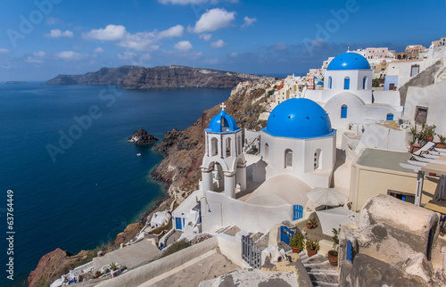 Thira view from the top at the island of Santorini, Greece