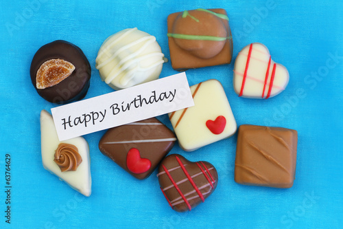 Happy Birthday card with selection of chocolates