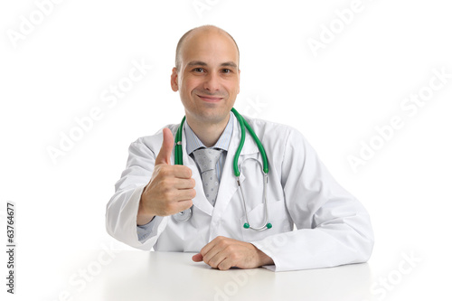 Happy male doctor with thumbs up isolated on white background