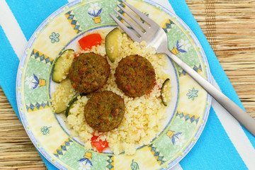 Falafel with couscous