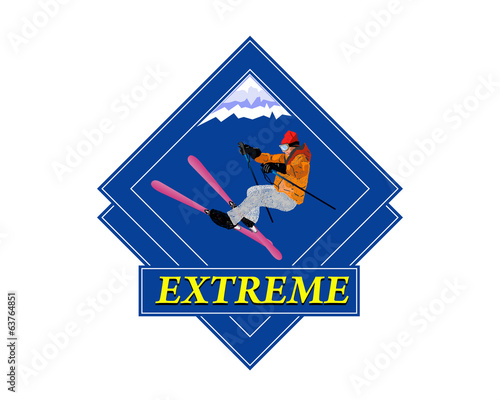 Adventure. Winter Sport Emblem.Freestyle Skiing.Extreme Skiing.