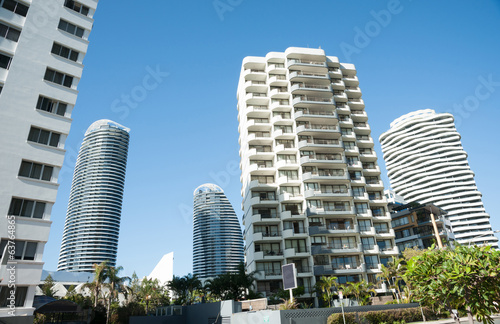 High-rise apartment buildings and offices, Surfers Paradise.