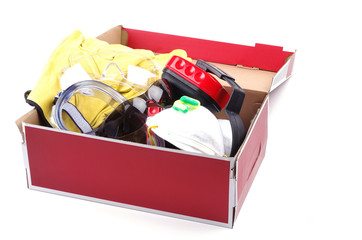 box of personal safety gear