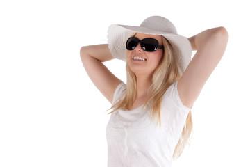 Frau mit Hut, isoliert