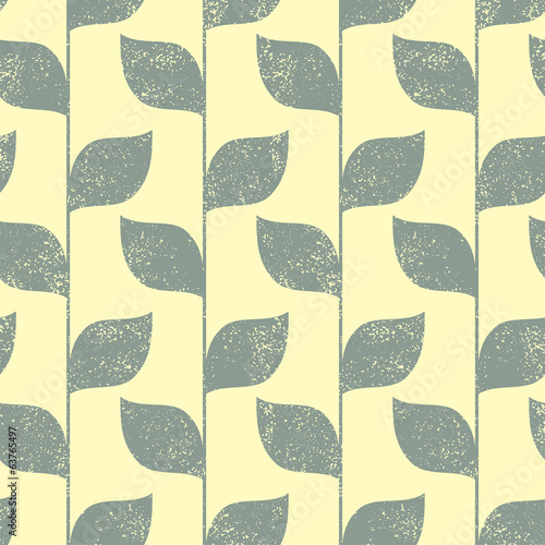 Seamless green leaves grunge pattern. Vector
