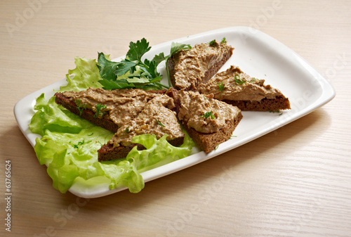 bread with delicious liver pate