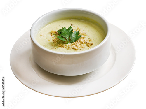cream soup in white bowl