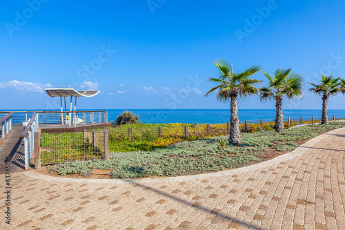 Promenade and viewpoint over shoreline in Ashkelon, Israel.