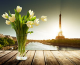 tulip flowers and Eiffel tower, Paris