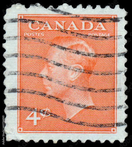 Stamp printed by Canada, shows King George VI