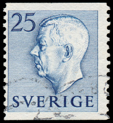 Stamp printed in Sweden shows Gustaf VI Adolf