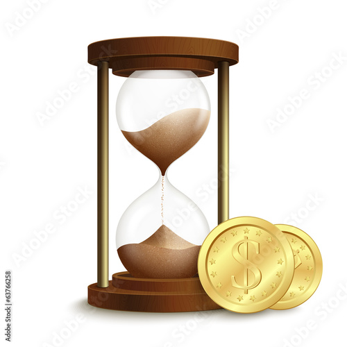 Hourglass with coins poster