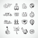 Logistic Hand Drawn Icons Set - 63766406
