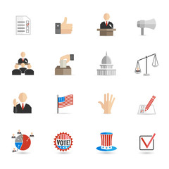 Elections icons flat set