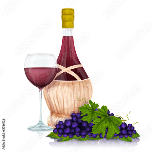 Wine jar and grape bunch print