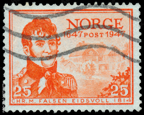 Stamp printed in the Norway, shows Christian Magnus Falsen